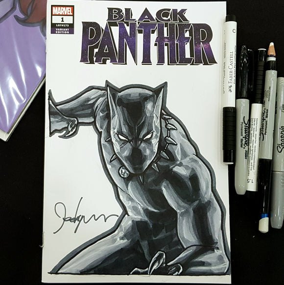 Black Panther Sketch Art Blank Signed Jeehyung Lee