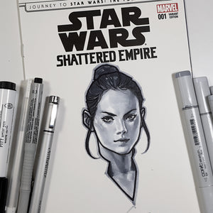 Star Wars Rey Head Sketch Art Blank