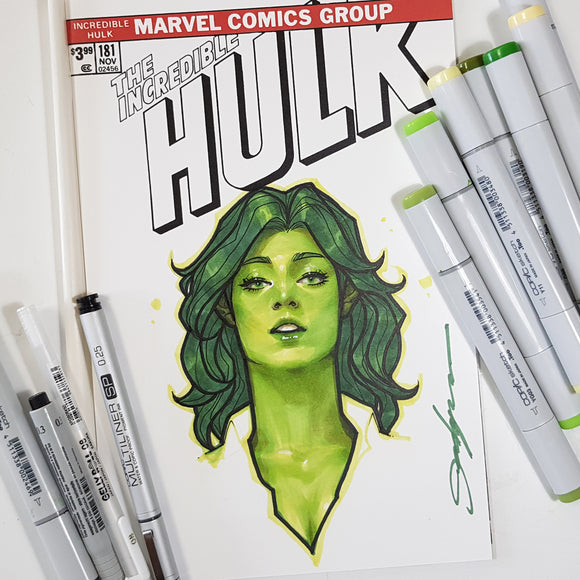 Marvel Incredible Hulk She Hulk Color Head Sketch Art by Jeehyung Lee