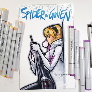 Marvel Spider-Gwen Ghost Spider Blank Cover Sketch Art in Color