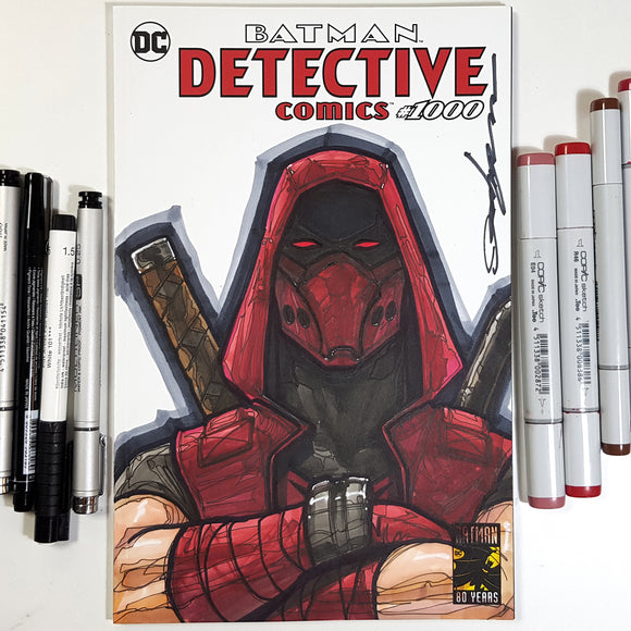 DC Red Hood Jason Ninja Blank Cover Sketch Art in Color
