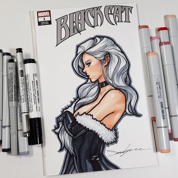Marvel Black Cat Blank Cover Sketch Art in Color