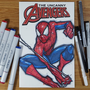 Marvel Spider-Man Blank Cover Sketch Art in Color