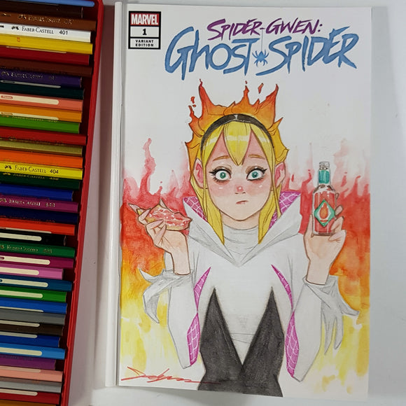 Spider Gwen Ghost-Spider Sketch Art Color Pencil by Jeehyung Lee