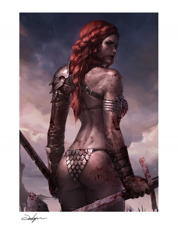 Sideshow Red Sonja Bloody Art Print AP & Numbered 18 x 24 Signed by Jeehyung Lee Dynamite