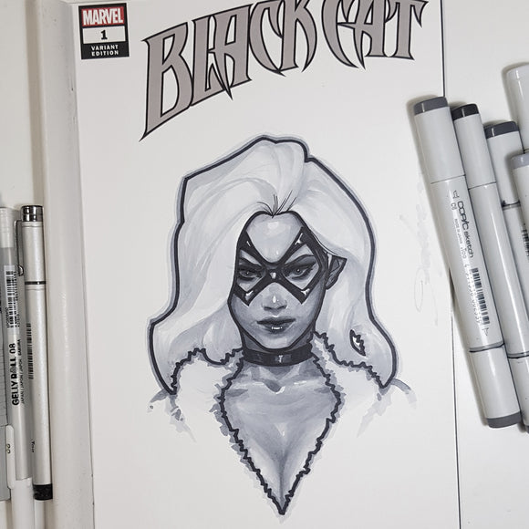 Marvel Black Cat Sketch Art Blank Head Shot
