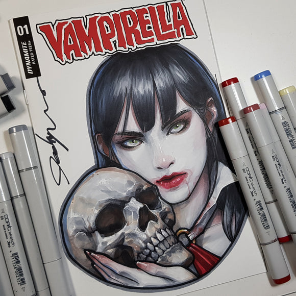 Vampirella Sketch Art Blank Signed Colored Jeehyung Lee