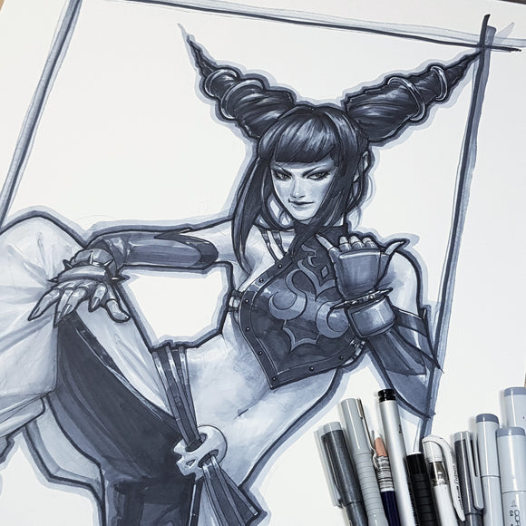 Juri Street Fighter Sketch Art Paper 11 x 17 Signed Jeehyung Lee