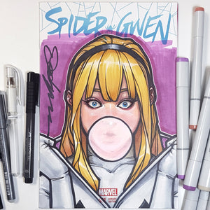 Sketch Art Spider Gwen Color Blank Cover by Jeehyung Lee
