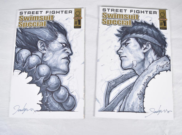 Street Fighter Ryu & Akuma Headshot Sketch Art Set Signed Jeehyung Lee