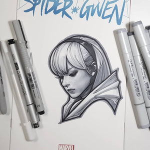 Marvel Spider Gwen Ghost Spider Head Sketch Art Blank