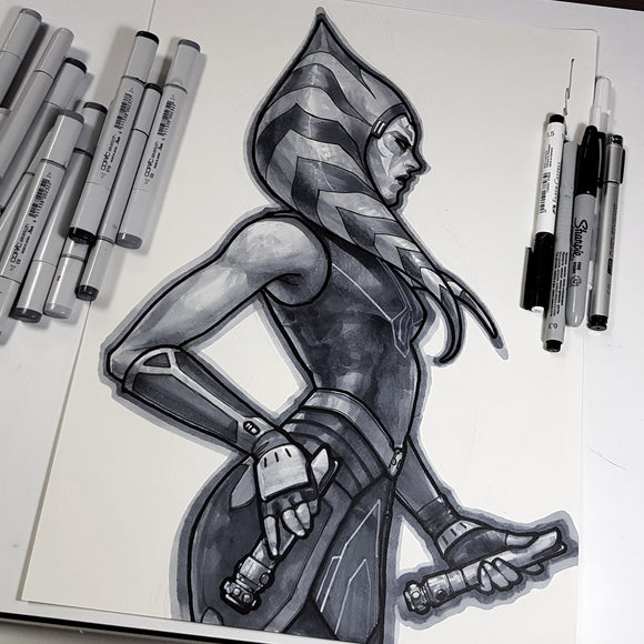 Ahsoka Tano from Star Wars: The Clone Wars A3 Sketch Art 11 x 17