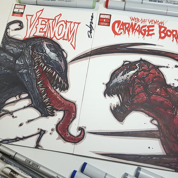 Sketch Art Venom Carnage Set Blank Cover by Jeehyung Lee