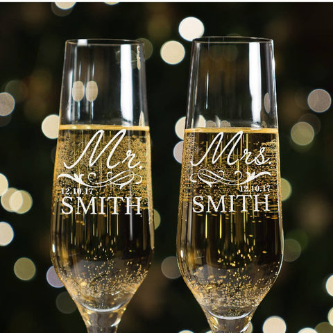 Custom engraved Mr. and Mrs. champagne flutes