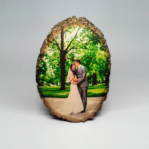 Rustic newlywed photo on wood for the nature loving Mr and Mrs