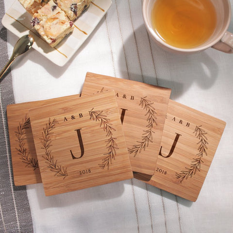 Custom engraved monogramed wooden coasters for newlywed gift