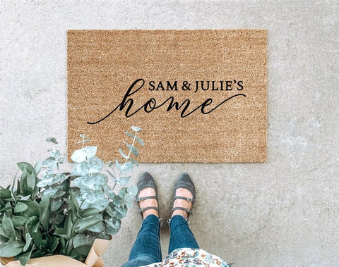 Customized door mats for the new Mr. and Mrs.