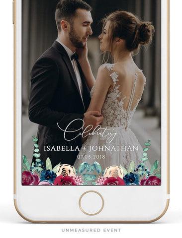 Custom Snapchat Geofilter templates for your wedding celebration. Buy for yourself or gift for the soon-to-be Mr. and Mrs. From Unmeasured Events