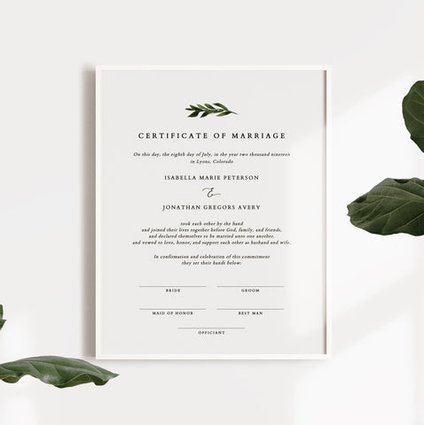 Modern minimal greenery custom marriage certificate for the most beautiful wedding ceremonies. Personalize, download, and print yours today at Unmeasured Events.