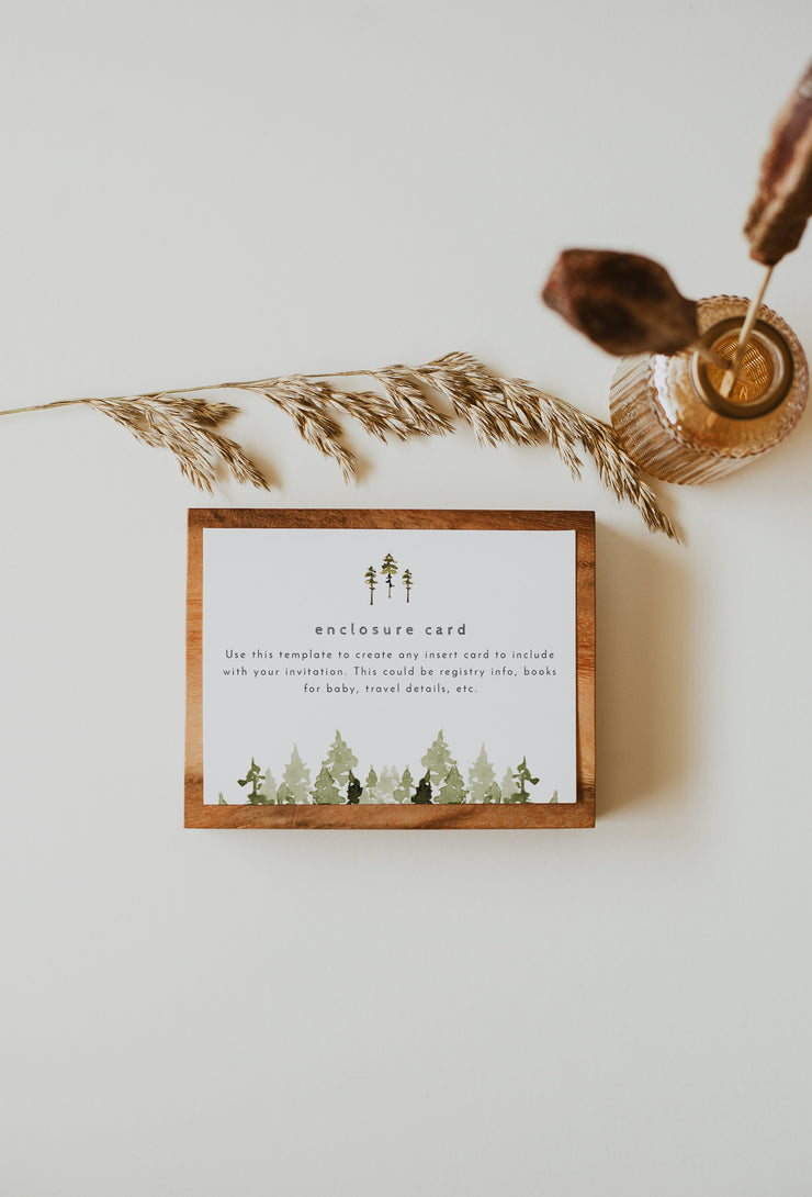 JENNA | Rustic Pine Tree Wedding Invitation Enclosure Card Template