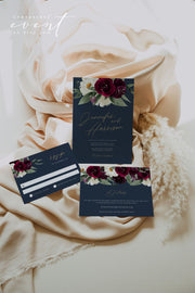 ROSA | Bordeaux Navy & Burgundy Floral Wedding Invitation Template Suite
