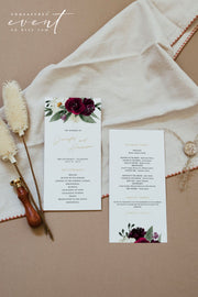 ROSA | Bohemian Burgundy and Ivory Floral Wedding Invitation Template Bundle
