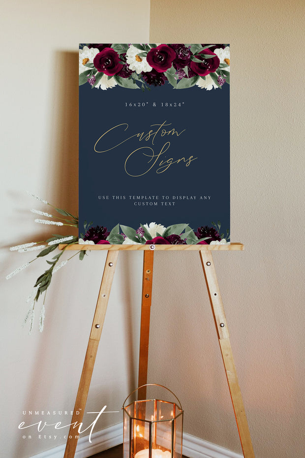 ROSA |  Bordeaux Navy & Burgundy  Floral Large Custom Sign Template