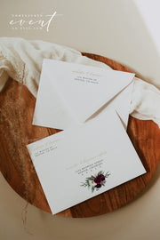 ROSA | Bordeaux Burgundy Floral Wedding Envelope Addressing Template