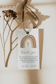 ANSLEY | Bohemian Terracotta Rainbow Favor Tag Template