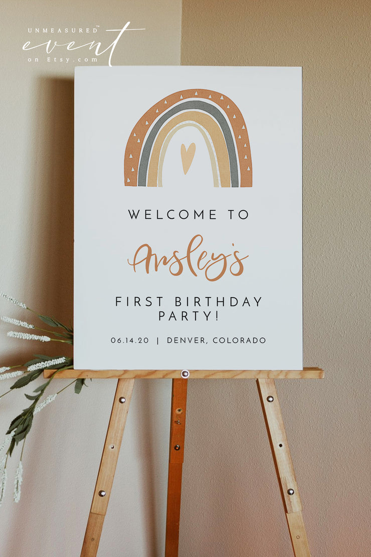 ANSLEY | Bohemian Terracotta Rainbow Printable Birthday Welcome Sign Template