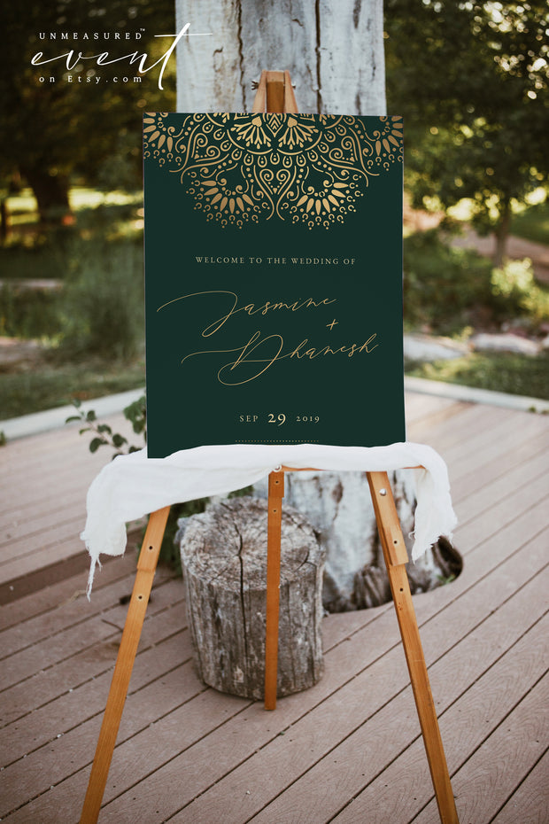 JASMINE | Elegant Golden Mandala and Emerald Green Printable Wedding Invitation Template Bundle