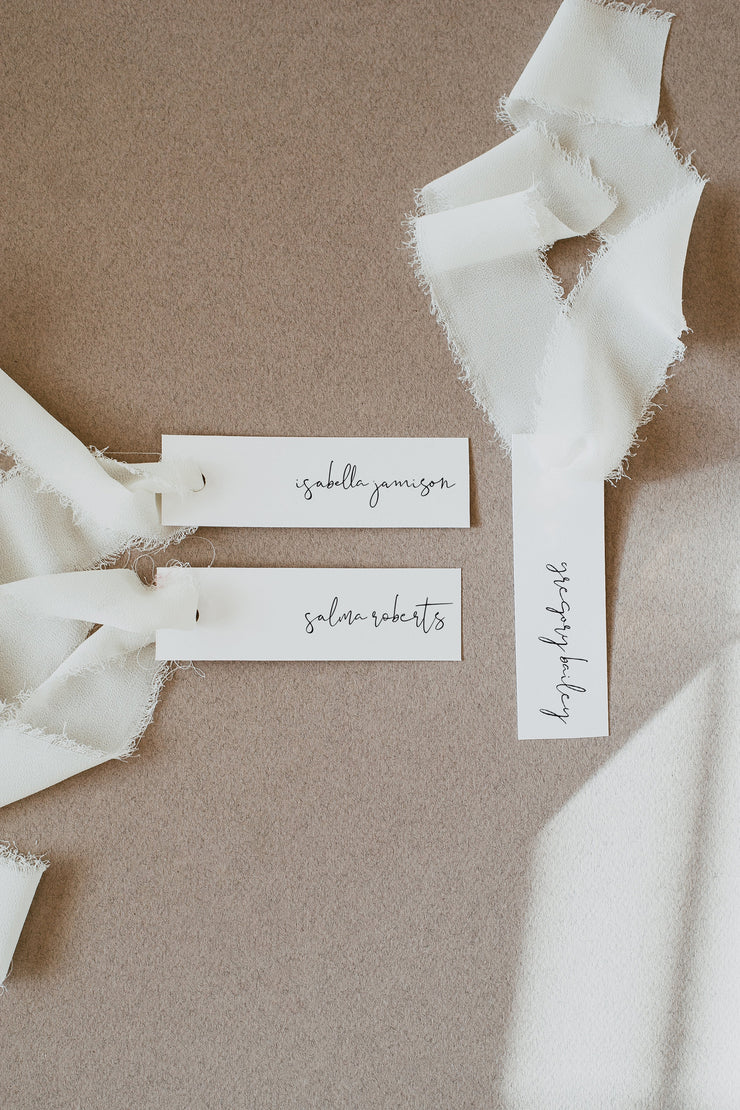 Adella - Modern Minimalist Slender Place Card Template - Unmeasured Events