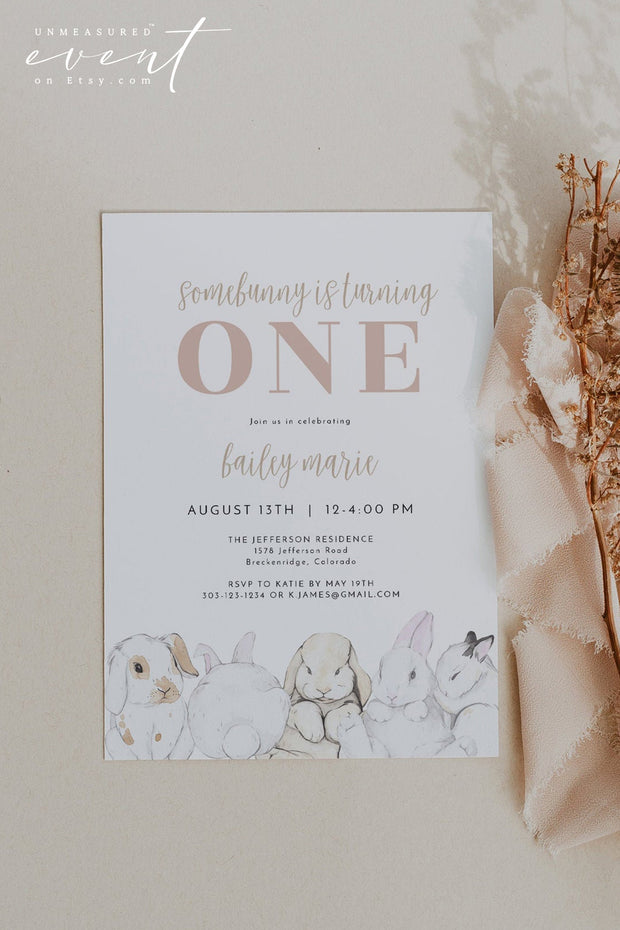 EVIE | Watercolor Bunny Rabbit Printable First Birthday Invitation Template