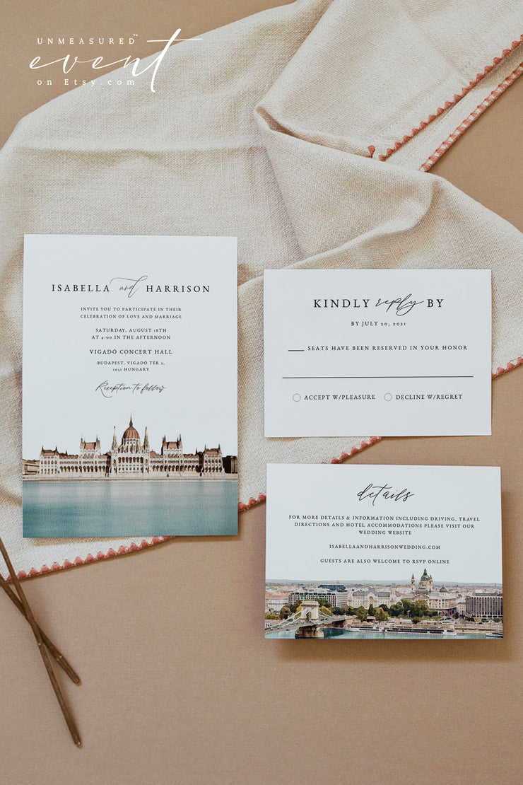 Watercolor Budapest Skyline Printable Wedding Invitation Template Bundle