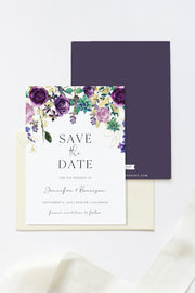 Olivia - Purple Floral and Succulent Save the Date Template