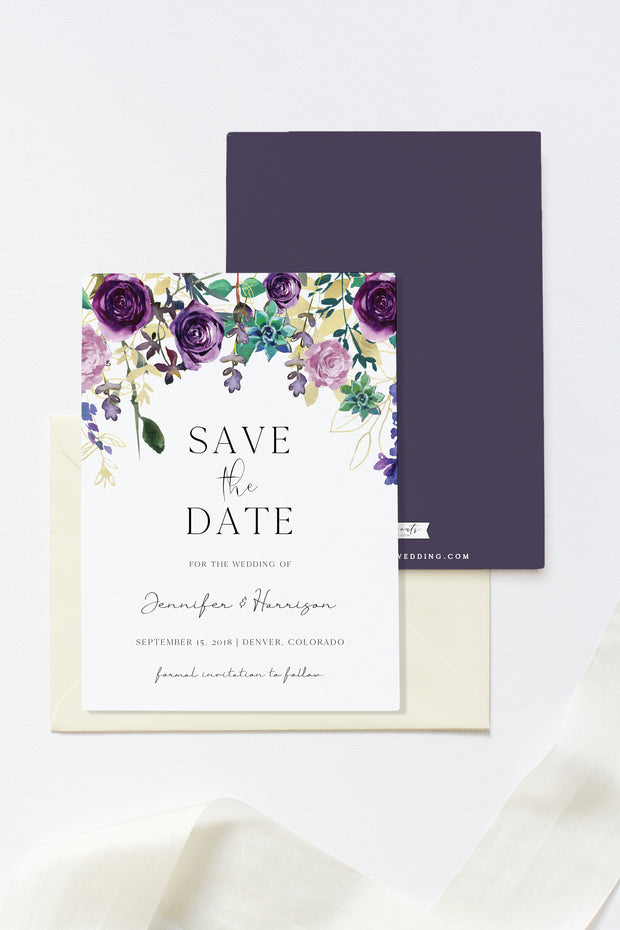 Olivia - Purple Floral and Succulent Save the Date Template - Unmeasured Events