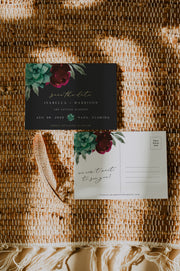 Amy - Burgundy Floral and Succulent Save the Date Postcard Template