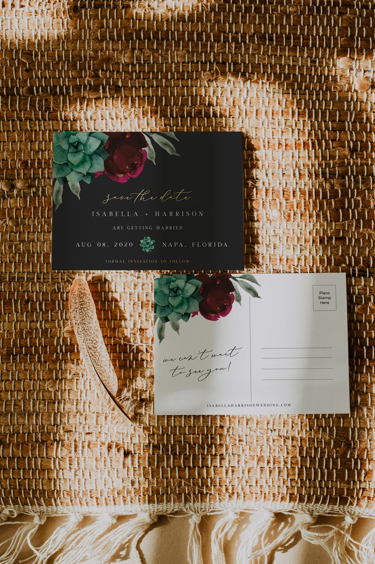 AMY - Moody Burgundy Floral and Succulent Save the Date Postcard Template