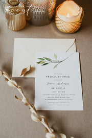 ISABELLA | Minimal Greenery Bridal Shower Invitation Template