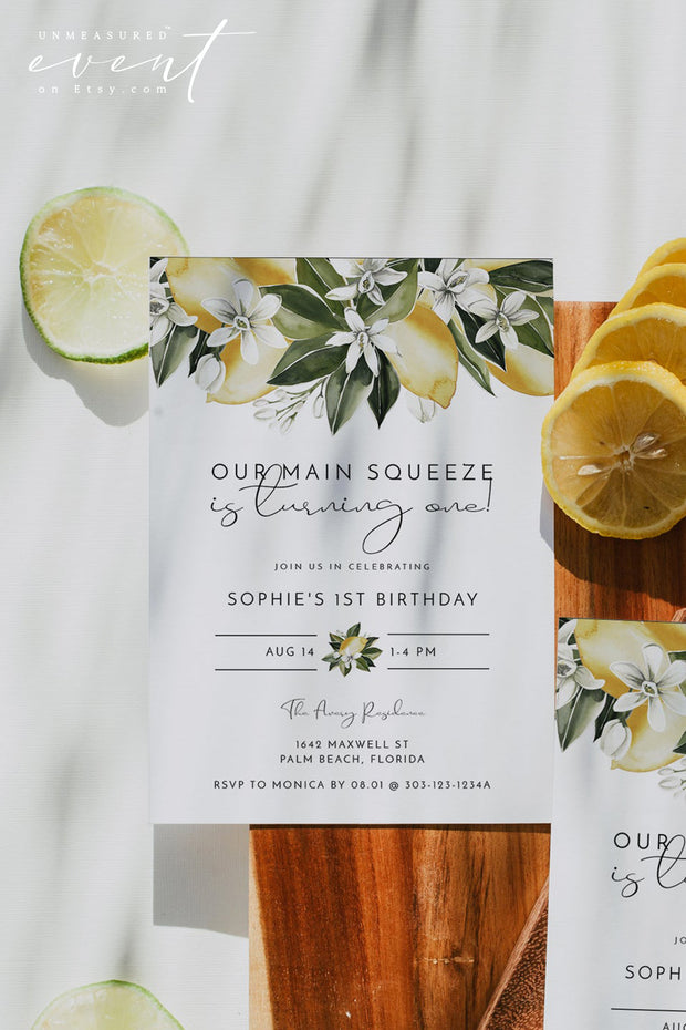 DAHLIA | Watercolor Citrus Lemon Printable First Birthday Invitation Template