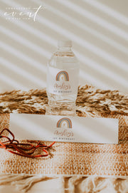 ANSLEY | Bohemian Terracotta Rainbow Printable Water Bottle Label Template