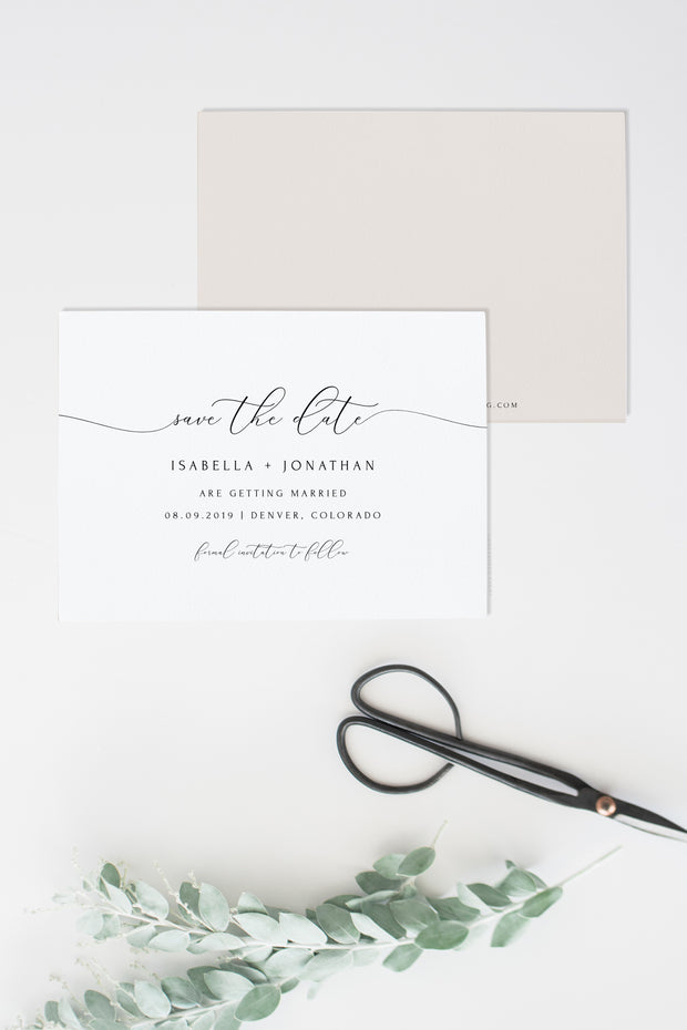 Asher - Minimalist Calligraphy Wedding Save the Date Template