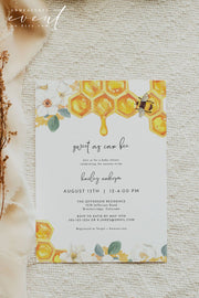 Romy - Floral Honey Bee Baby Shower Invitation Template