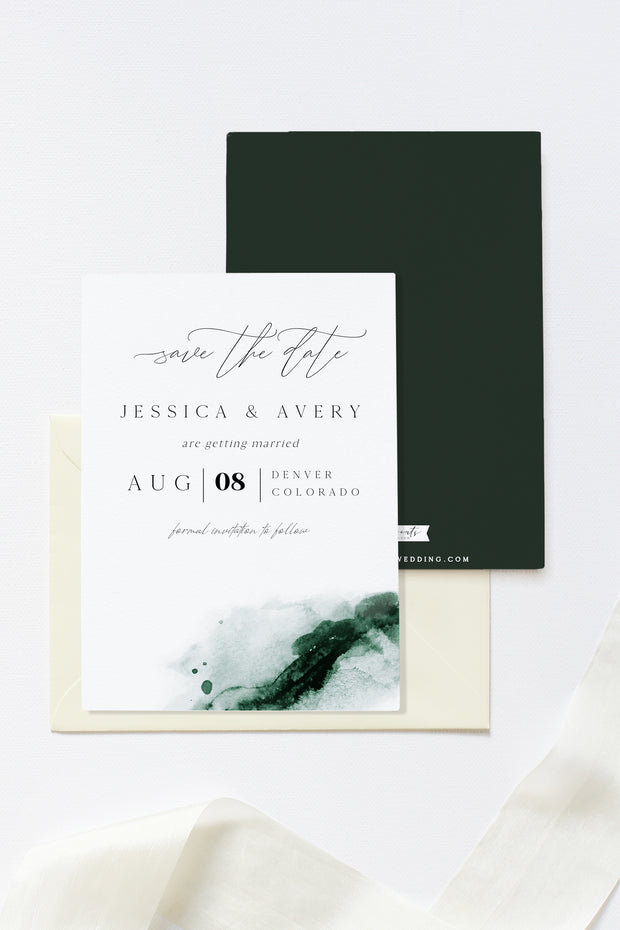 Emerald - Abstract Green Watercolor Wedding Save the Date Template