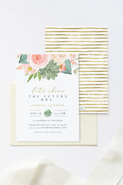 Finley - Rustic Peach Floral & Succulent Bridal Shower Invitation Template - Unmeasured Events