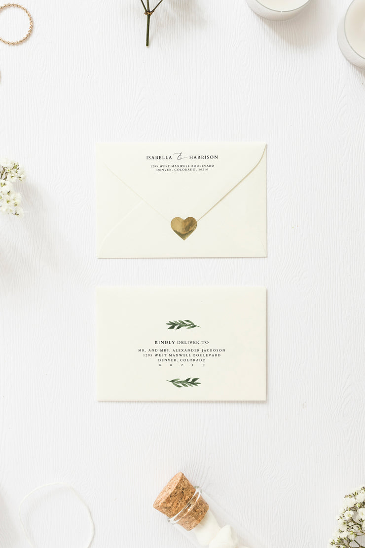 Lana - Greenery Wedding Envelope Addressing Template - Unmeasured Events