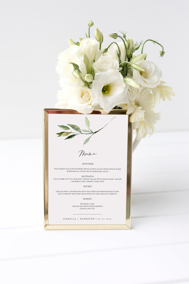 Isabella - Minimal Greenery Wedding Menu Template