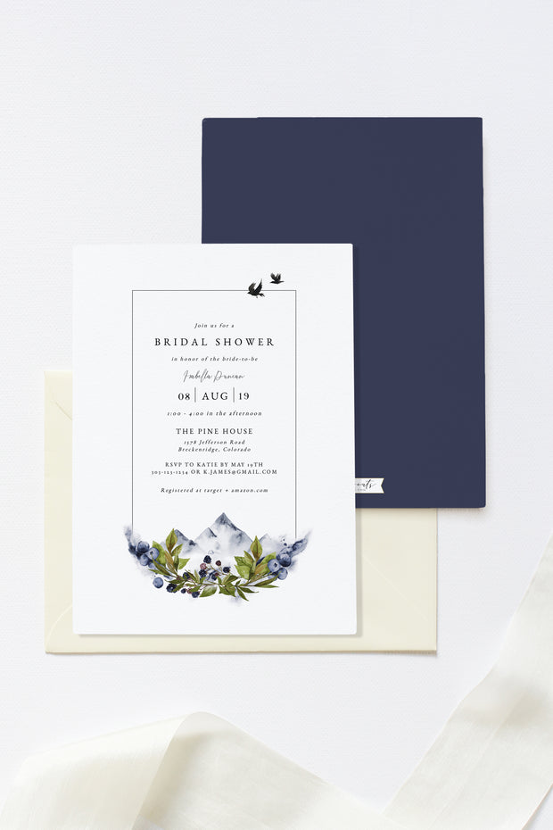 Sierra - Boho Mountain Bridal Shower Invitation Template