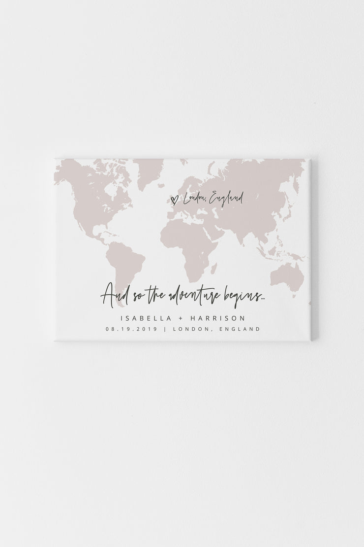 Quinn - Blush World Map Wedding Welcome Sign Template - Unmeasured Events