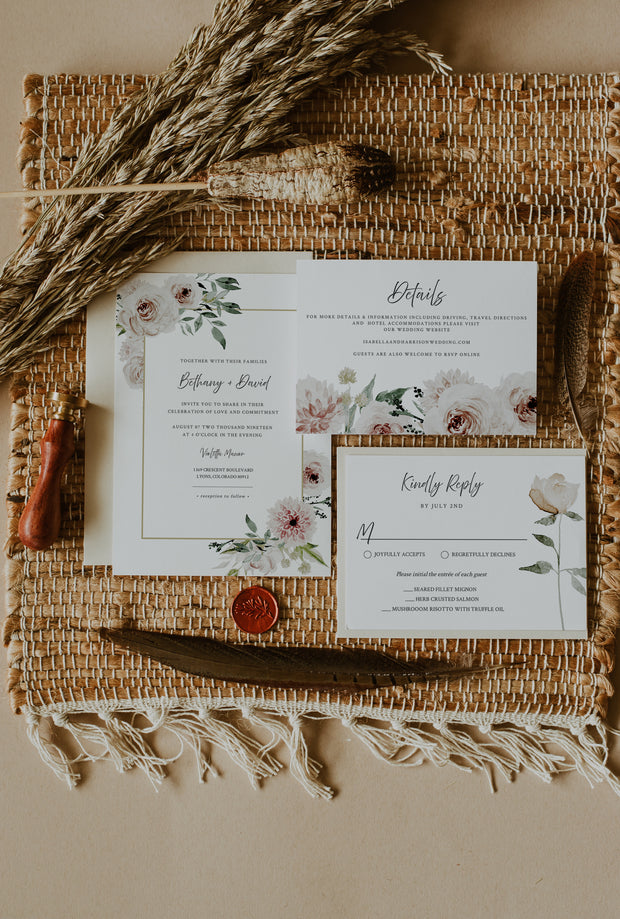 ROBYN | Blush Floral Wedding Invitation Template Suite